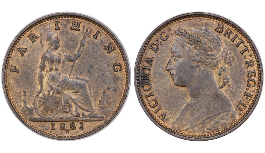 1881 H Farthing, gEF, Cooke Type B, Dies 7+E, Victoria, Variant of Freeman 548
