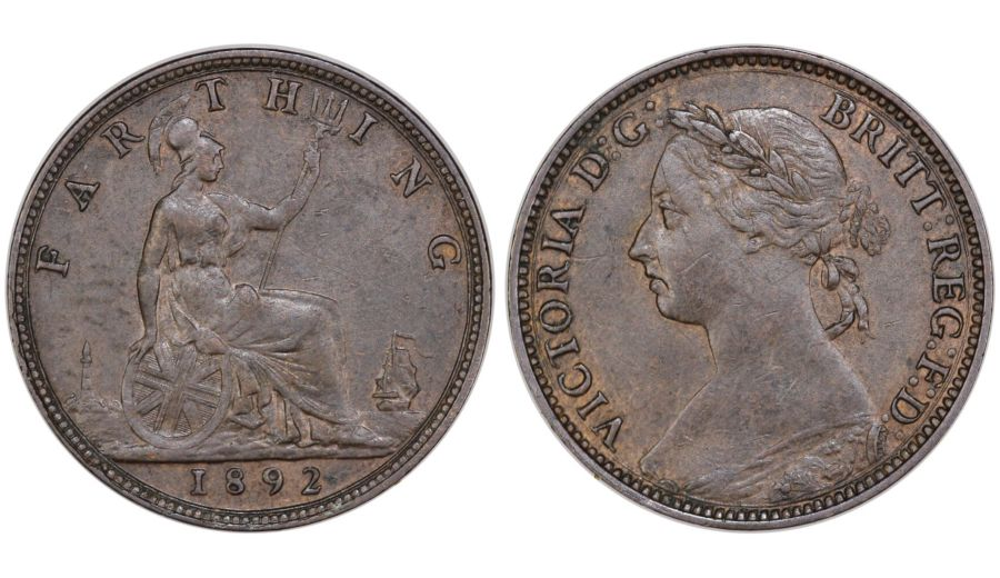 1892 Farthing, EF, Freeman 566, Dies 7+F