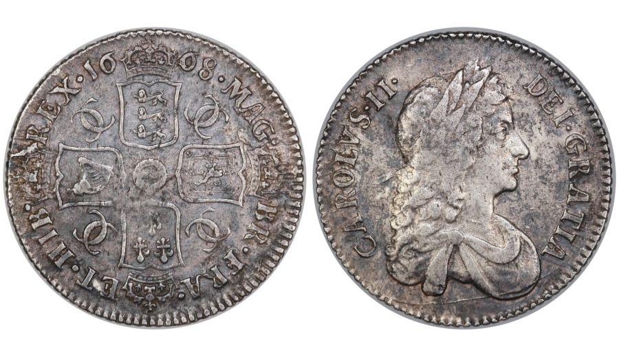 1668 Shilling, aVF, Charles II, Second bust, ESC 1030