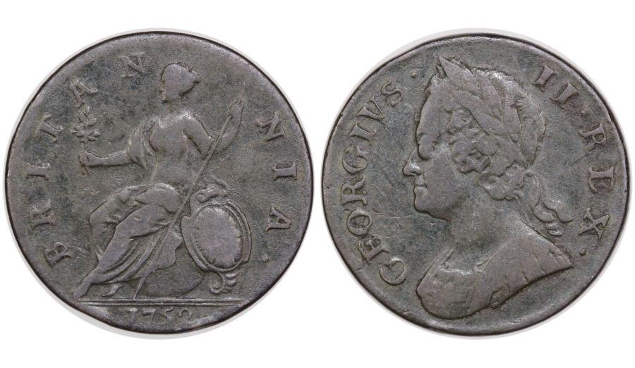 1752 Halfpenny, George II, Peck 882