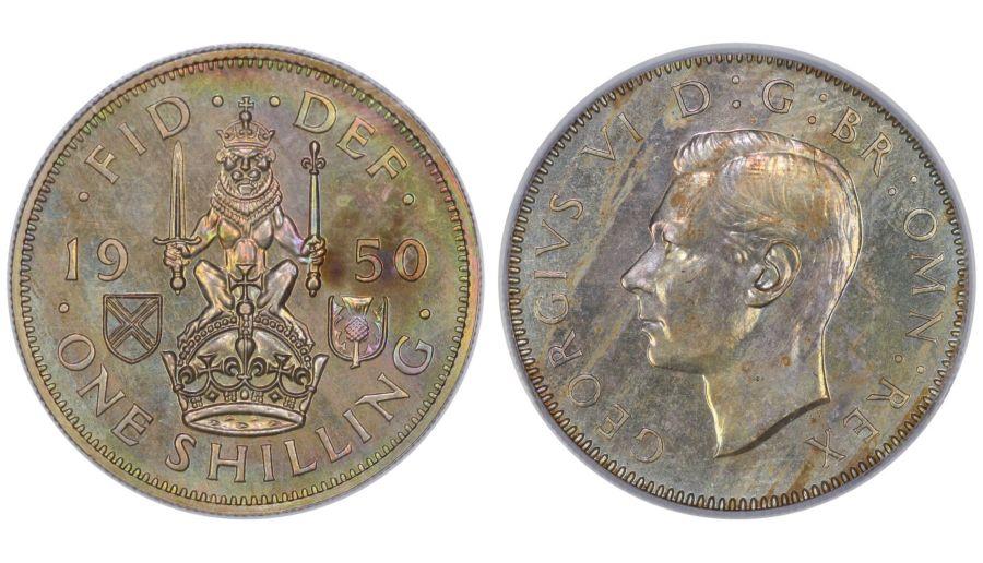 1950 'Scottish' Proof Shilling, CGS 88(BU), George VI, ESC 1475F, UIN 14402