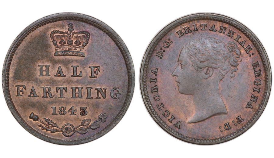 1843 Half farthing, gEF, Victoria, Peck 1593