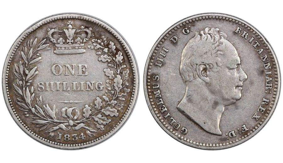 1834 Shilling, gFine, William IV, ESC 1268