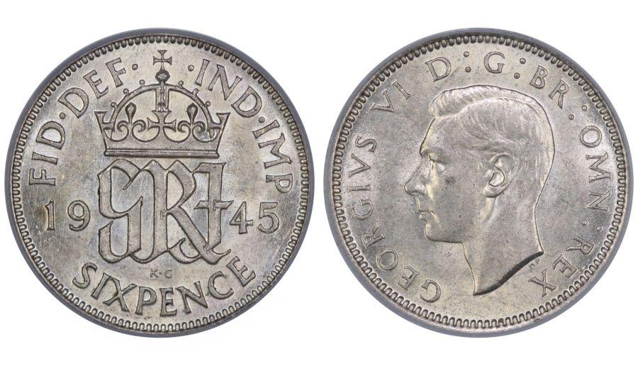 1945 Sixpence, CGS 75, aUNC, George VI, ESC 1835, UIN 22880