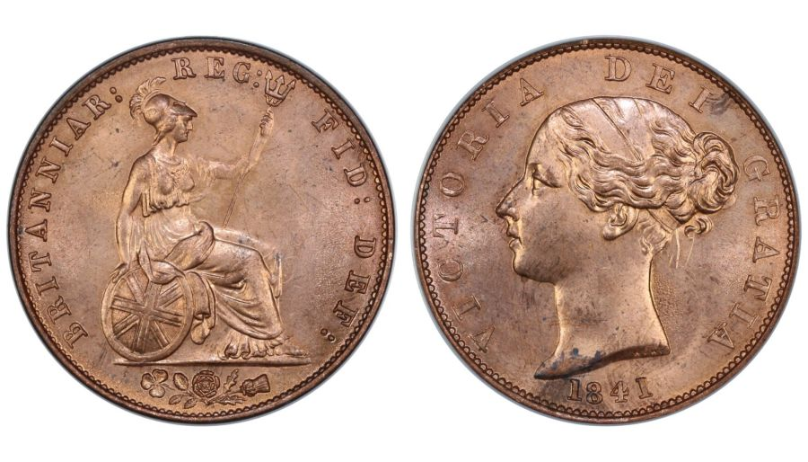 1841/1 Halfpenny, LCGS 85, Last 1 tilted 1 over 1, LCGS variety 6, Finest known,  UIN 42431