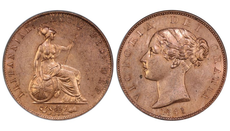 1841 Halfpenny, LCGS 85, Broken Shamrock stem, LCGS variety 5, Joint finest, UIN 42430 (Sold at auction)