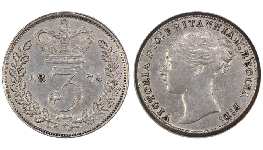 1875 Threepence, 3d, EF, Victoria, ESC 2081, Scratch above second 2nd R of Britannia
