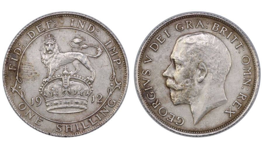 1912 Shilling, gVF cleaned, George V, Davies 1795