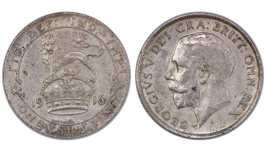 1916 Shilling, VF, George V, ESC 1426