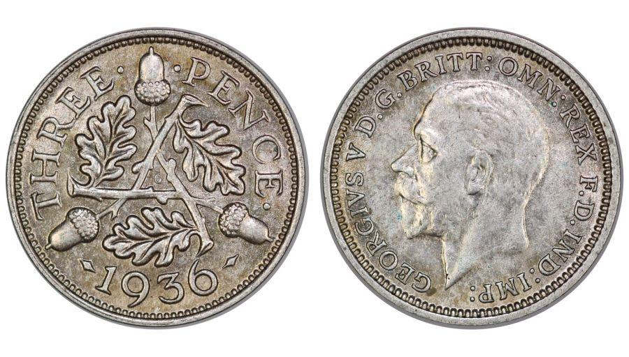 1936 Threepence, 3d, gEF, George V, ESC 2149