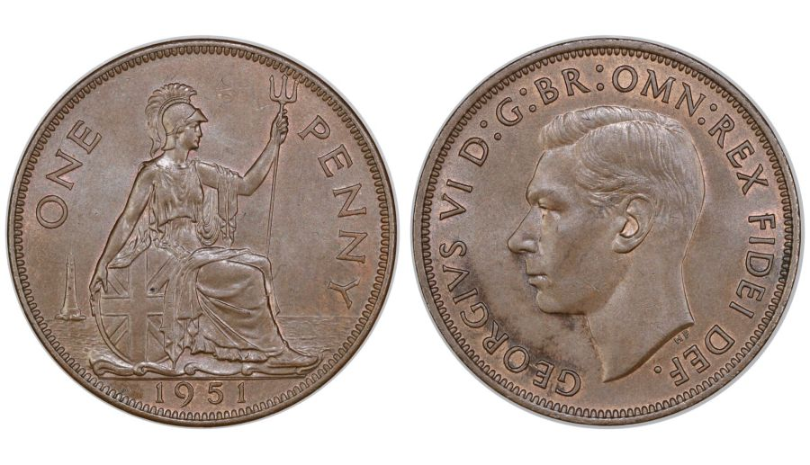 1951 Penny, aUNC, George VI, Freeman 242, Low mintage 120,000, R4