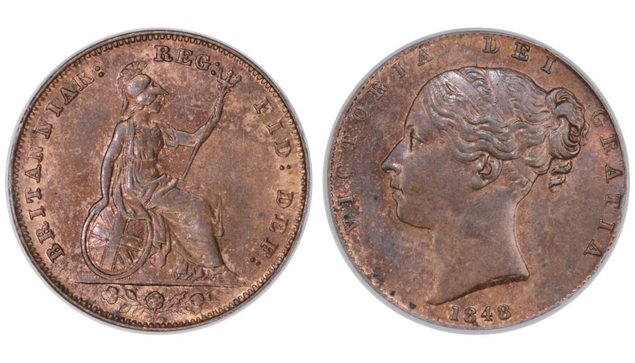 1848 Farthing, CGS 75 (MS62-63), UNC or near so, Victoria, Peck 41040, UIN 41040