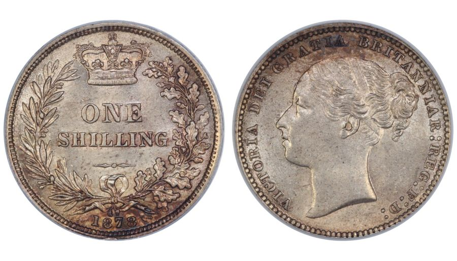 1878 Shilling, CGS 70 (MS 60-61), aUNC, Victoria, Davies 908, UIN 16450, Sold at auction