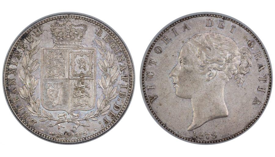 1879 Halfcrown, CGS 65 (MS60 -61), gEF, Victoria, Rare, UIN 40772