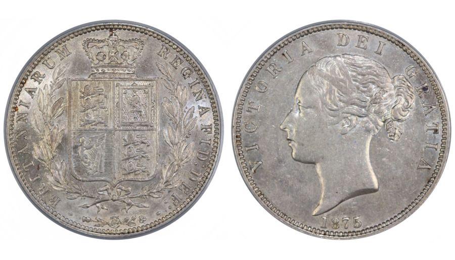1875 Halfcrown, LCGS 65 (AU58 - MS60), gEF, Victoria, ESC 696, Scarce, UIN 42472
