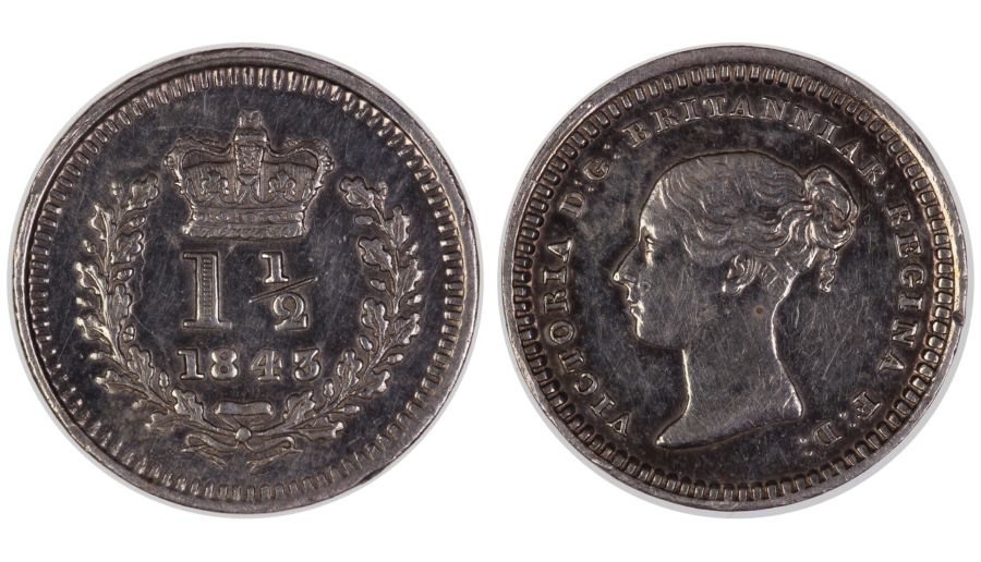 1843 Threehalfpence, aUNC 'cleaned', Victoria, Flat top 4