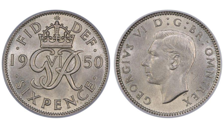 1950 Sixpence, CGS 78, George VI, ESC 1838B,UIN 23866