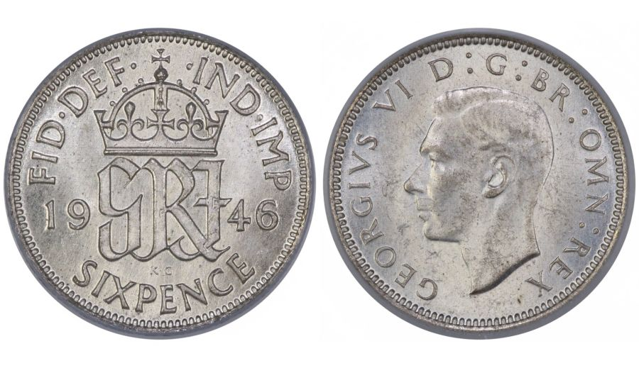 1946 Sixpence, CGS 78, George VI, ESC 1836, UIN 21333