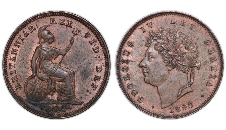 1827 Third farthing, gEF, George IV, Peck 1453, Spink 3827