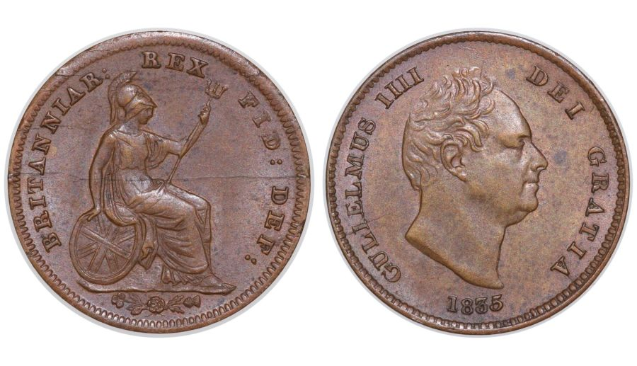 1835 Third Farthing, VF/EF, William IV, Peck 1477, C&R 1400, Ex SNC