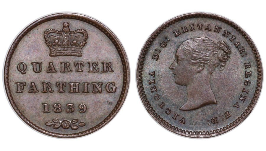 1839 Quarter Farthing, UNC, Victoria, Ex Roger Shuttlewood collection, Peck 1608