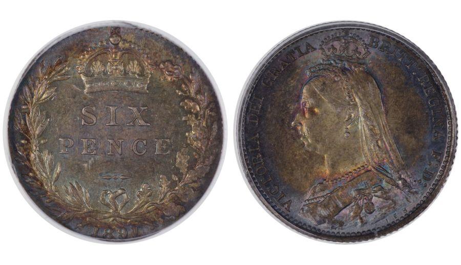 1891 Sixpence, CGS 80, ESC 1759, 22821