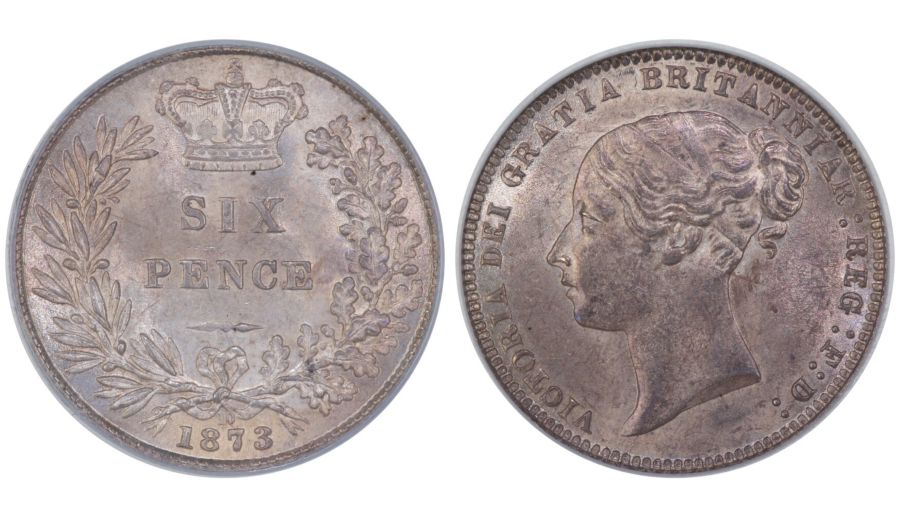 1873 sixpence, CGS 82, Dies 3A, Davies 1079, UIN 28409