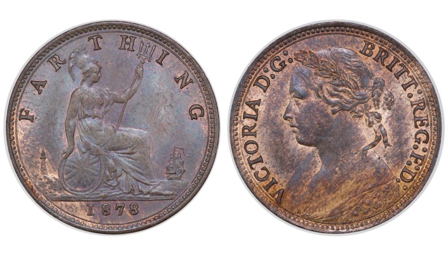 1878 Farthing, aUNC, Victoria, Freeman 536