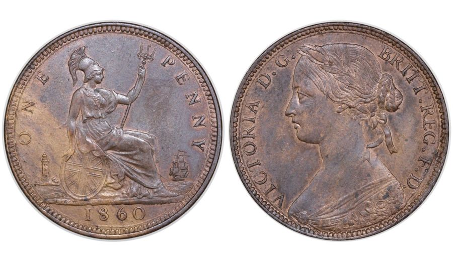 1860 Penny, Toothed border, UNC, Victoria, Dies 3+D, Freeman 13