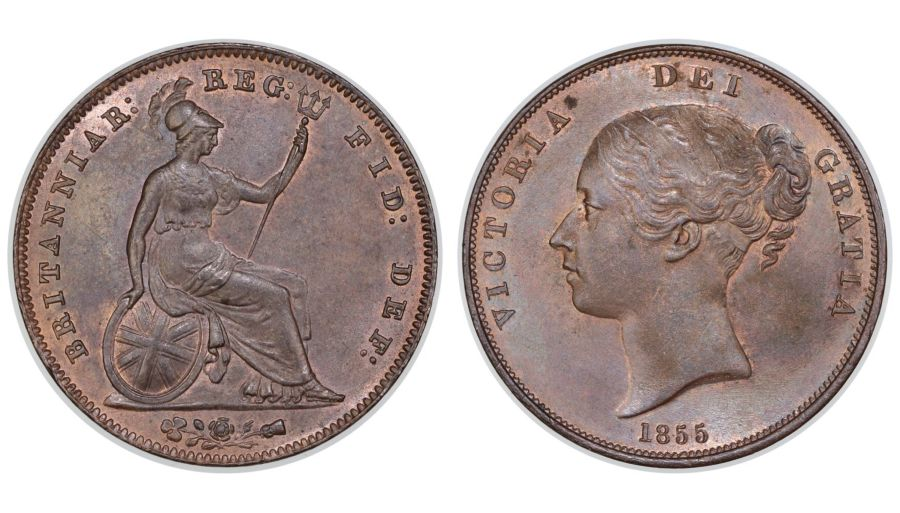 1855 Penny, PT,  UNC, Victoria, Peck 1509