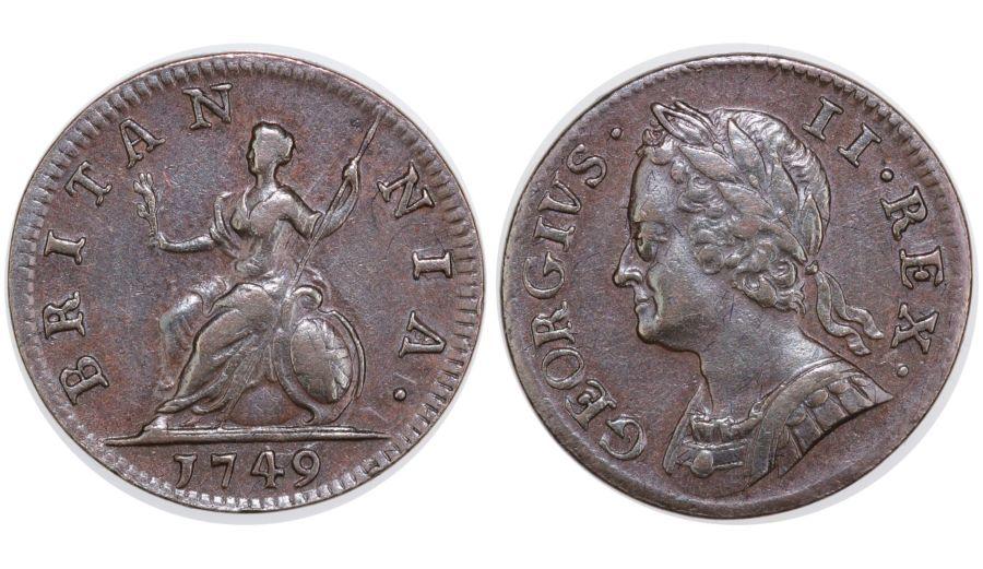 1749 Farthing, gVF, George II, Peck 889