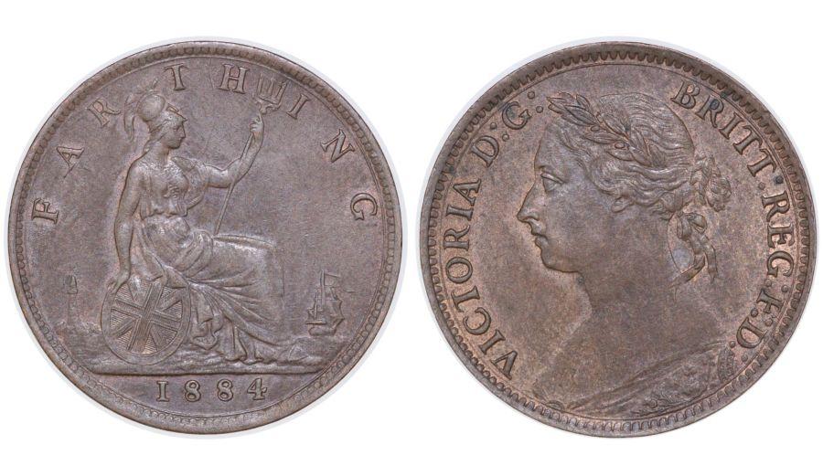 1884 Farthing, EF/aUNC, Victoria, Freeman 569