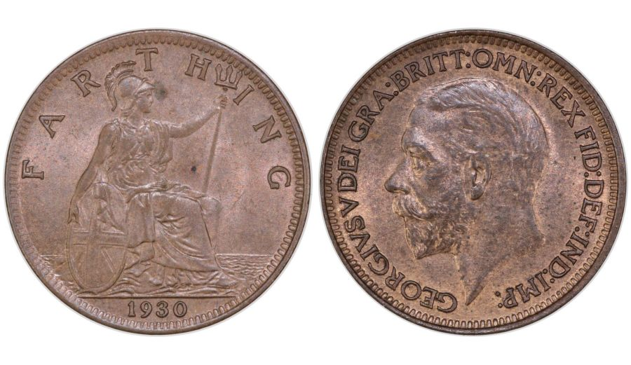 1930 Farthing, UNC, George V, Freeman 613