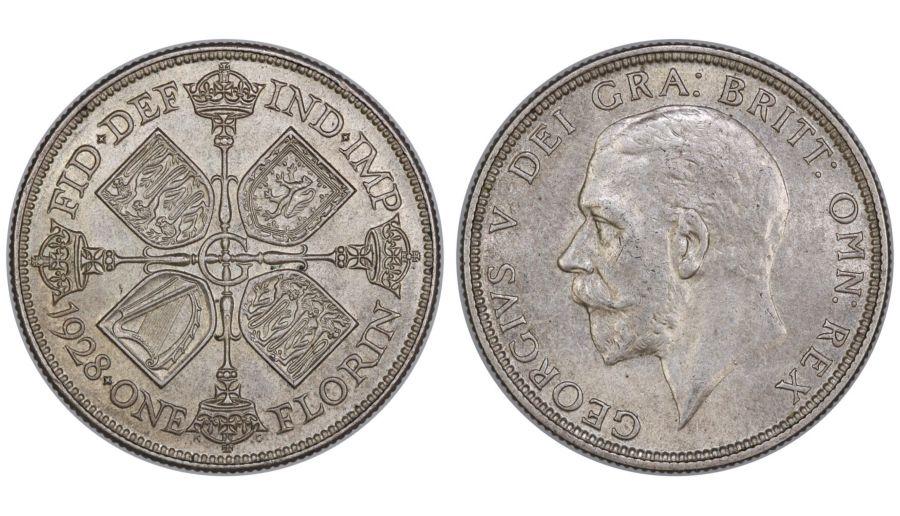 1928 Florin, 2/-, gEF, George, Bull 3781, ESC 948