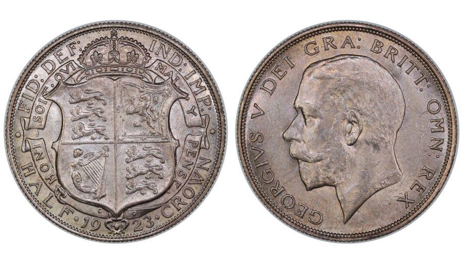 1923 Halfcrown, EF/aUNC, George V, Scarce, Bull 3724, ESC 770, Davies 1684