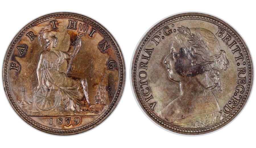 1879 Farthing,, Large 9,  aUNC, Victoria, Freeman 540