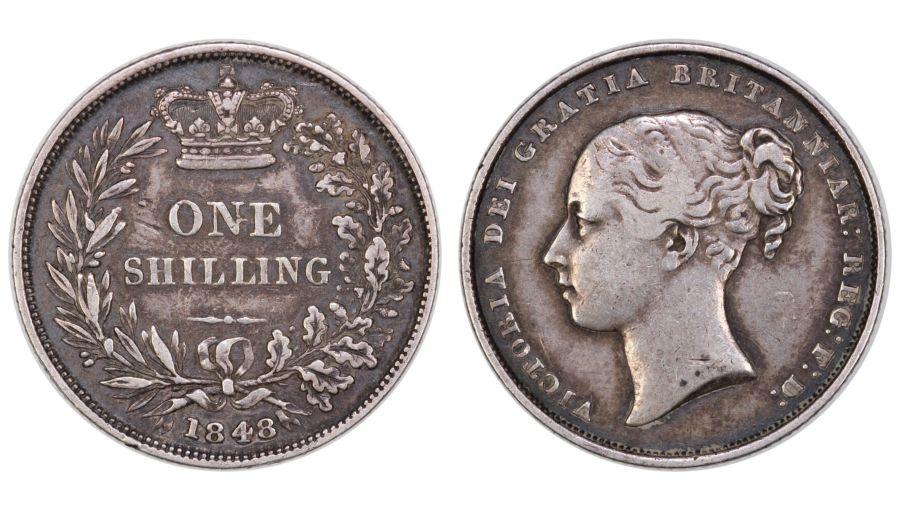 1848/6 Shilling, gFine, Victoria, R2, Bull 2994, ESC 1294, Ex Pywell-Phillips