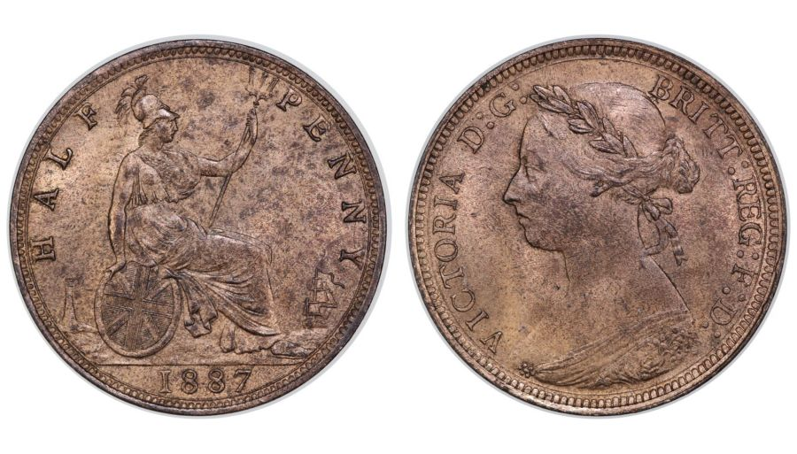 1887 Halfpenny, aUNC or near so, Victoria, Dies 17+S, Freeman 339, Ex Pywell-Phillips collection