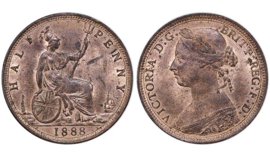 1888 Halfpenny, gEF, Victoria, Freeman 359, Ex Pywell-Phillips collection