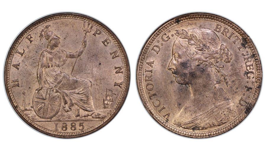 1885 Halfpenny, UNC, Freeman 354, Peck 1839, Ex Pywell-Phillips collection