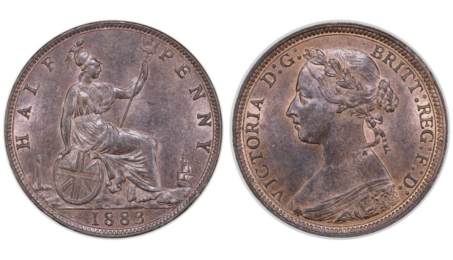 1883 Halfpenny, UNC, Victoria, Freeman 349, Dies 17+S, R2, Ex Pywell-Phillips collection
