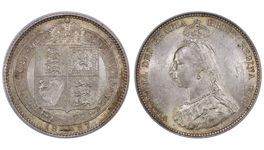 1887 Shilling, CGS 70, aUNC, Davies 982, UIN 26723