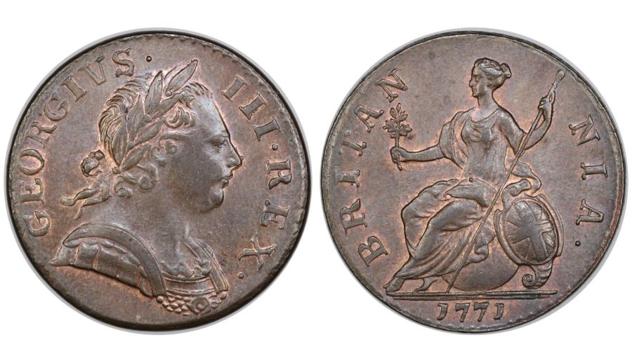 1771 Halfpenny, EF or better, George III, Peck 896, Ex George Bates collection