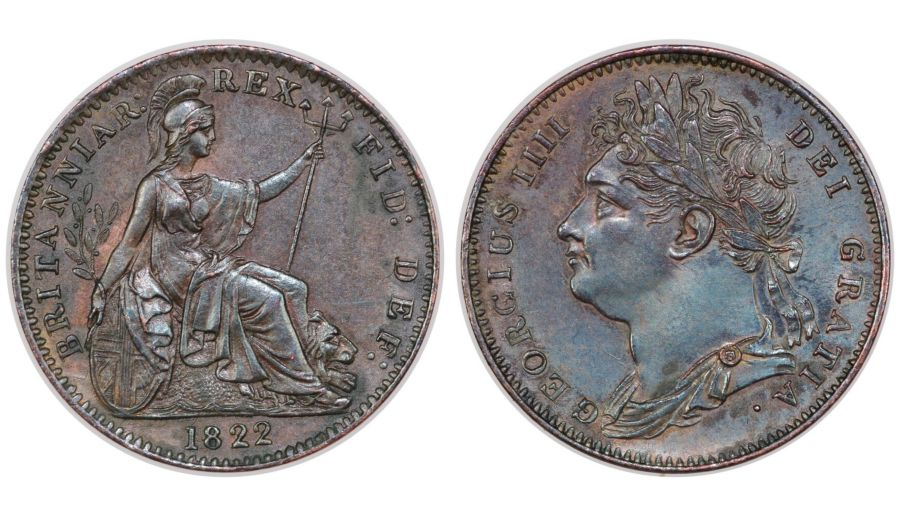 1822 Farthing, gEF, George IV, Peck 1409, Obverse 1