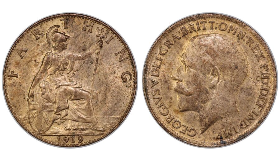 1919 Farthing, UNC, George V, Bright finish, Freeman 598