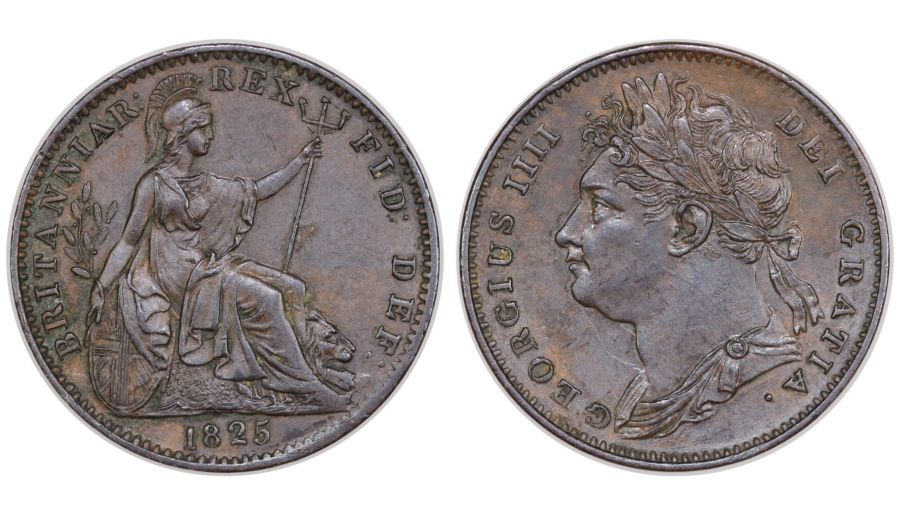 1825 Farthing, E/P in DEF, aEF, George IV, Peck 1414