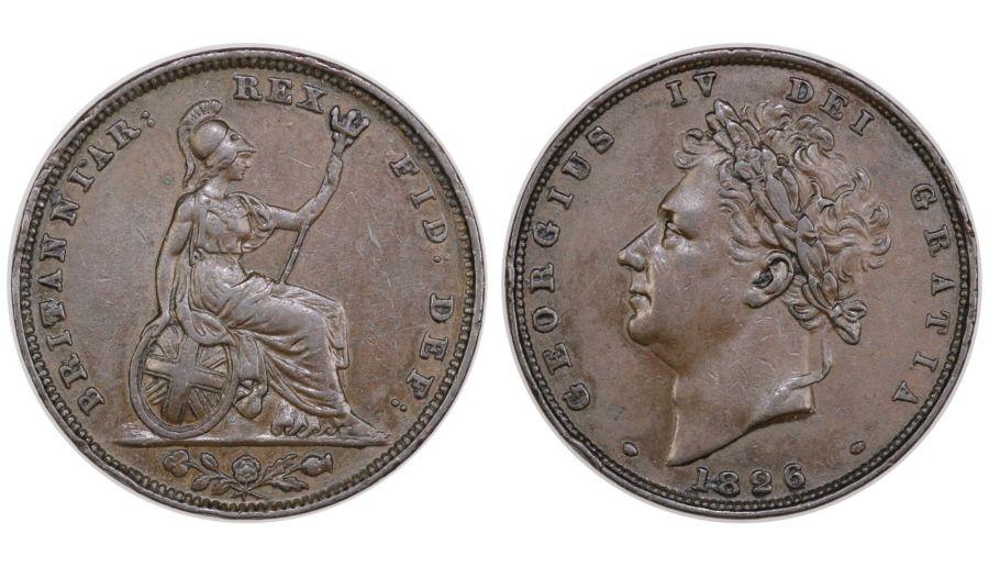 1826 Farthing, gVF, George IV, Peck 1439