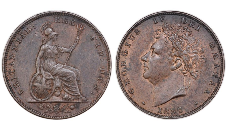 1830 farthing, nEF, 1 over D in DEI, George IV, Peck 1445?