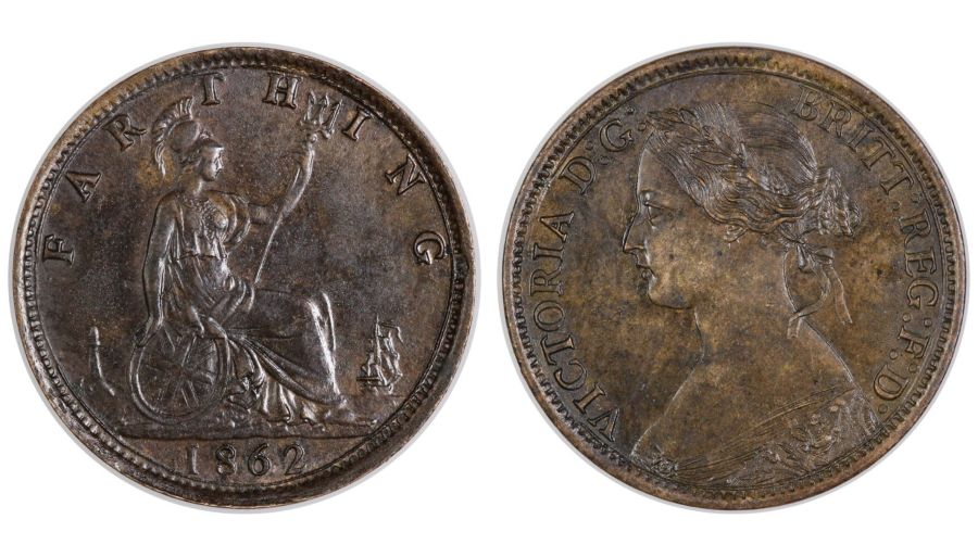 1862 Farthing, toned gEF, sharp strike to obverse, Freeman 507, R