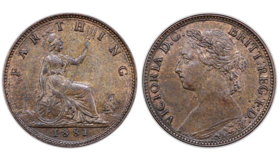 1881 Farthing, Victoria, 3 berries, gEF, Freeman 546, Dies 7+C, R4